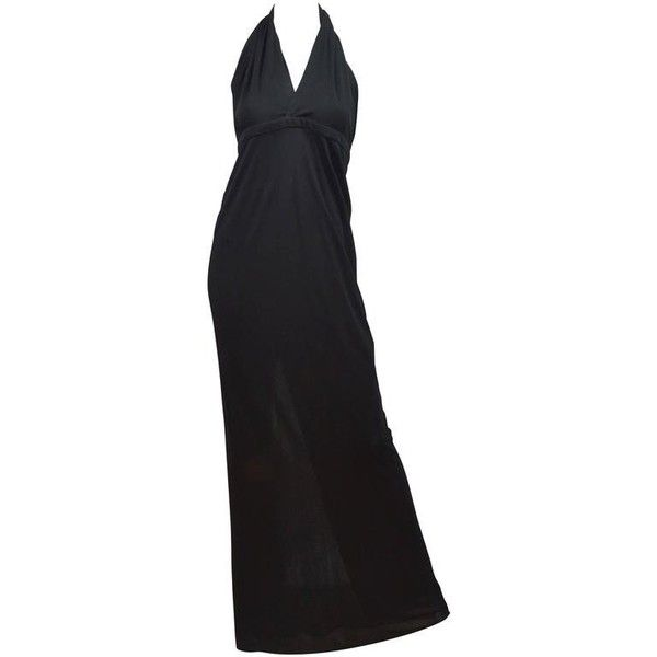 Preowned Gucci Deep V Neck Black Jersey Halter Gown (48.945 RUB) ❤ liked on Polyvore featuring dresses, gowns, black, deep v neck maxi dress, halter-neck maxi dresses, maxi dresses, halter evening gowns and jersey maxi dress