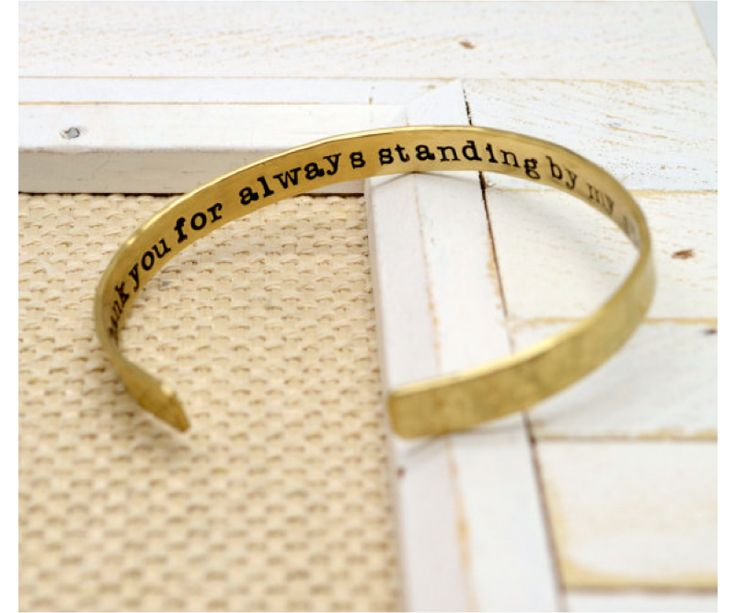 Maid of Honor Personalized Brass Cuff Bracelet