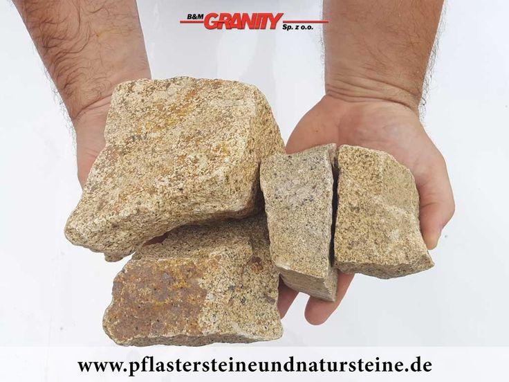 Ziersteine / Eckige Steine aus Granit, gelb (trocken) für Gabionen