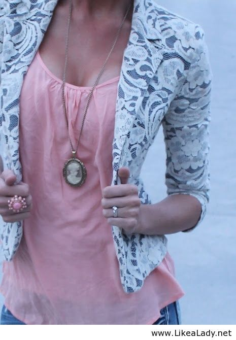Lace blazer and pink top
