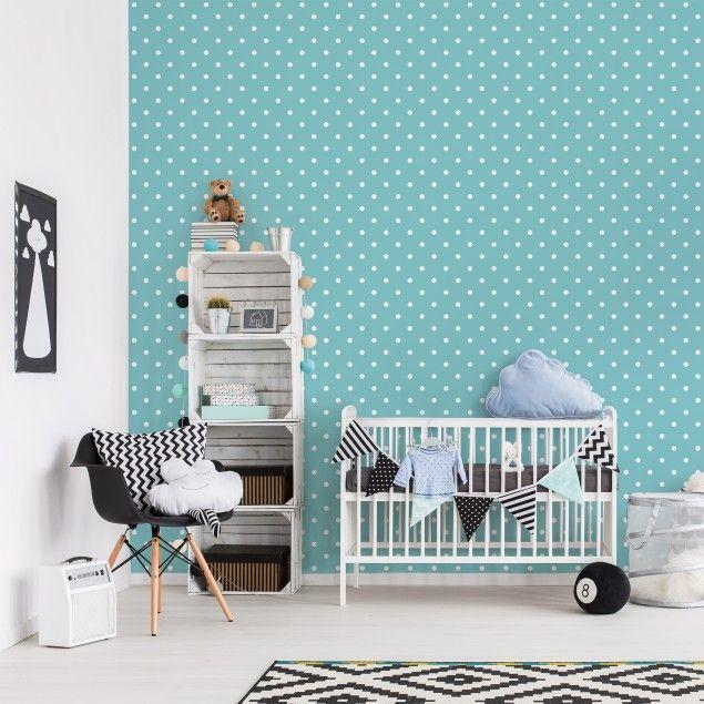 Kindertapeten - Vliestapeten - No.YK55 Weiße Punkte auf Türkis - Fototapete Quadrat