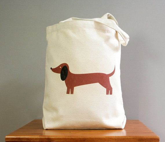 Dachshund canvas tote, cute and adorable.by SquarePaisleyDesign