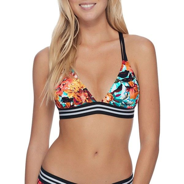 Body Glove Women's Wonderland Floral Printed Triangle Top (€25) ❤ liked on Polyvore featuring swimwear, bikinis, bikini tops, neutral, swim suit tops, triangle swimwear, swimsuit tops, striped bikini and floral-print bikinis