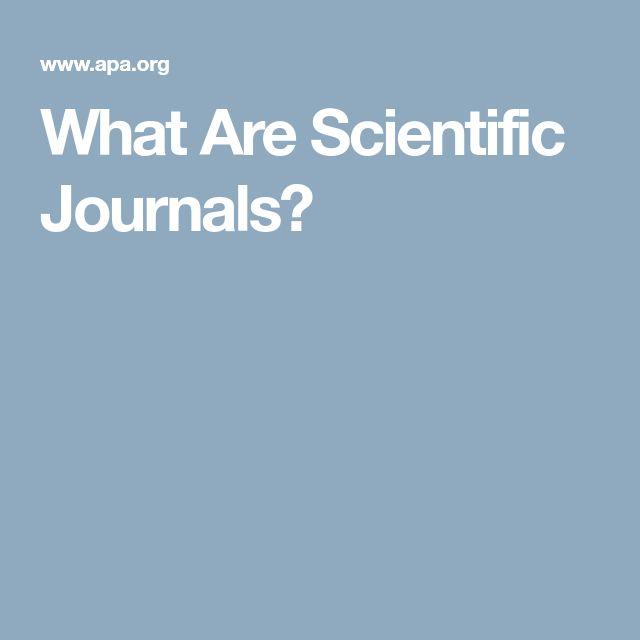 What Are Scientific Journals?