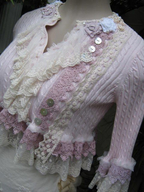 Crochet upcycle instead of lace on old sweater turned cardigan