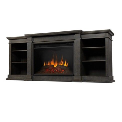 Eliot Grand Electric Fireplace Entertainment Center – Antique Gray – Real Flame