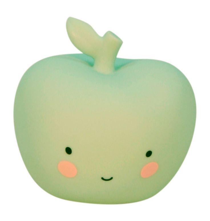 Vågelampe udformet som et sødt mintgrøn æble fra A little lovely company. Se vores store udvalg af interiør til børneværelset på Lirumlarumleg.dk