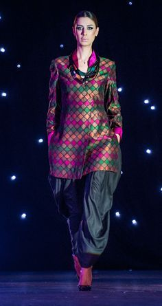 Structured Phulkari Nehru Jacket With Loose Dhoti Pants