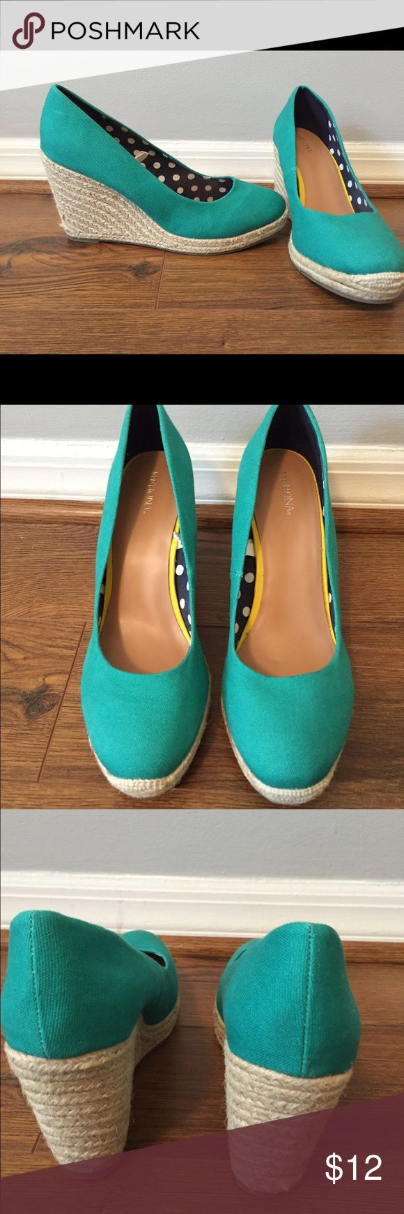 Teal Wedge Fun and bright teal wedge perfect for spring and summer.  Adds a great pop of color to any outfit!  Small mark on one of the wedges (as shown in picture). Merona Shoes Wedges