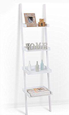 Spetebo - Escalera estantería con 4estantes en blanco(168x 37cm), ideal para salón o comoestantería de baño