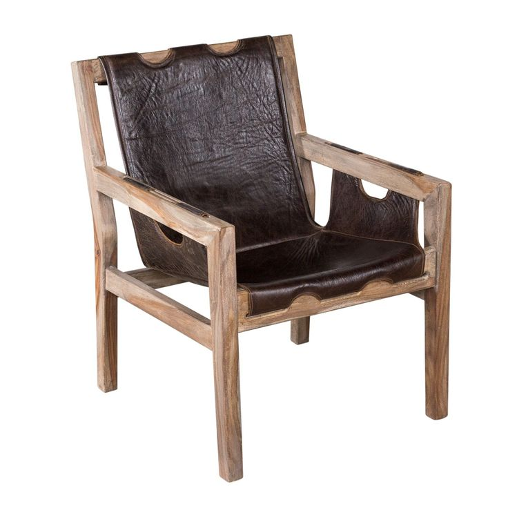 Handmade Organic Leather and Sheesham Wood Angled Sling Chair (India) by NA