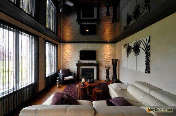 Темный цвет потолка в интерьере