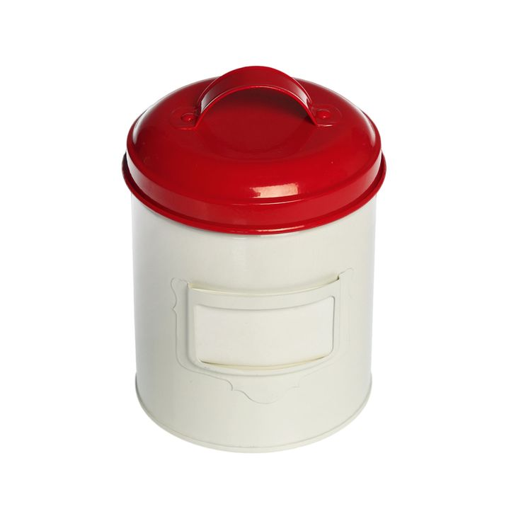 Small Vintage Red Enamel Canister | DotComGiftShop