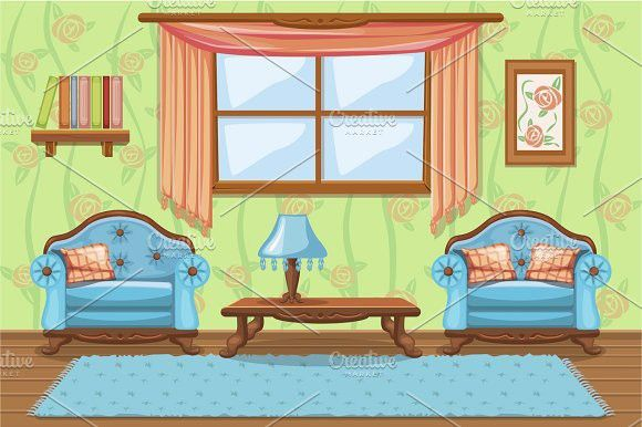 Cartoon Living Room With Furniture Living Room Designs Modern Living Room Interior Room Design