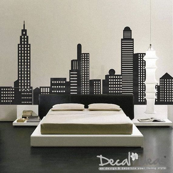 city skyline decal city buildings skyline vinyl wall new york skyline wall decal skylines wallpaper decal