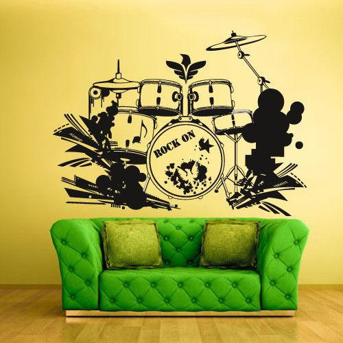 Wall Vinyl Decal Sticker Bedroom Decal Drum Instruments Music z636