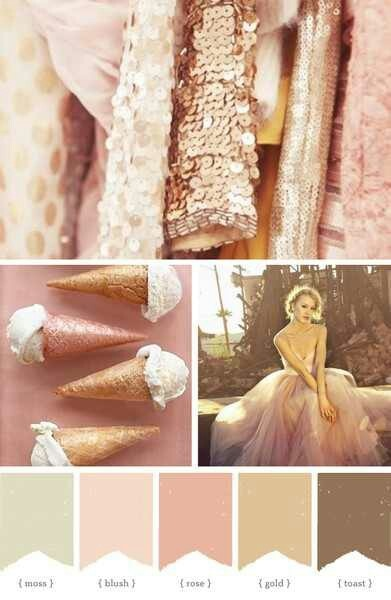 blush wedding palette -- love the hints of gold