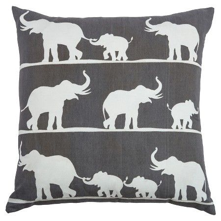 Rizzy Home Marching Elephants Throw Pillow - Khaki and White (20 x 20) : Target