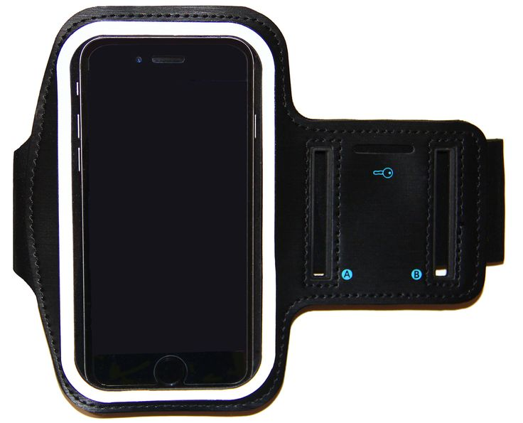 i2 Gear Armband for iPhone 6 6S with Center Sync Access + Keyholder (Black). Armband for iPhone 6/6S - Supports Center Lightning Earpod Connection. Touchscreen access with a slot for your house key. Made of soft neoprene and lycra. Adjustable sizing fits arms from 9 to 15 inches. Night reflector feature provides increased visibility after dark.
