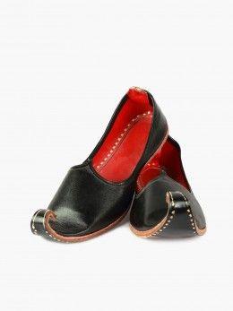 Rajasthani Jutis Pure Leather, Black Snooties