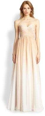 La Femme Strapless Organza Ombre Gown #ombre #bridesmaid