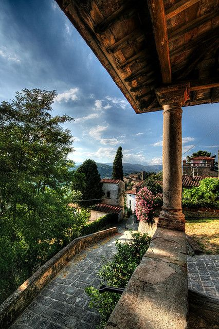 Montecatini Alto, a small town located on a hill in the northern part of Tuscany