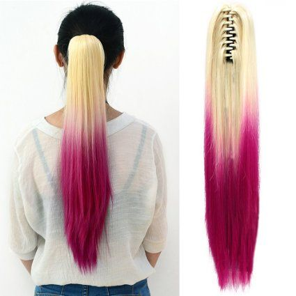 Neverland #Straight Ponytail Long #Hair Piece #Hair #Extension With Clips Two Tone Blonde #Rose #Red