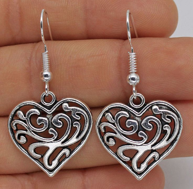 925 Silver Plated Hook - 1 Pair Hollow Heart Flower Lady Party Earrings New #07