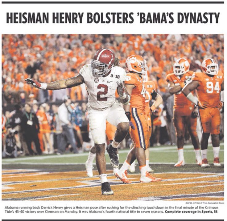 Heisman Henry Bolsters Bama's Dynasty - National Championship front pages from Jan. 12, 2016  #Alabama #RollTide #BuiltByBama #Bama #BamaNation #CrimsonTide #RTR #Tide #RammerJammer #CFBChampionship #NationalChampionship