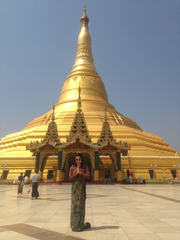 """Mingalaba"" or Hello , Shawesandaw pagoda in Naypyidaw of Myanmar."