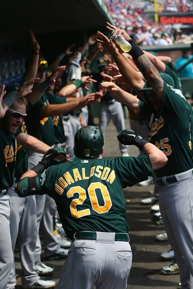 Josh Donaldson being greeted by the tunnel after a home run; a ritual for the A's.