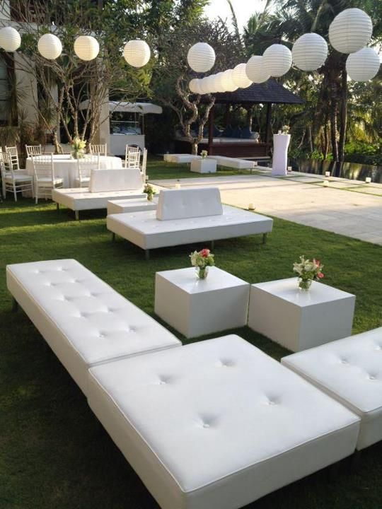 Comfy couches for wedding guests   Chill out area  Villa Wedding Bali …