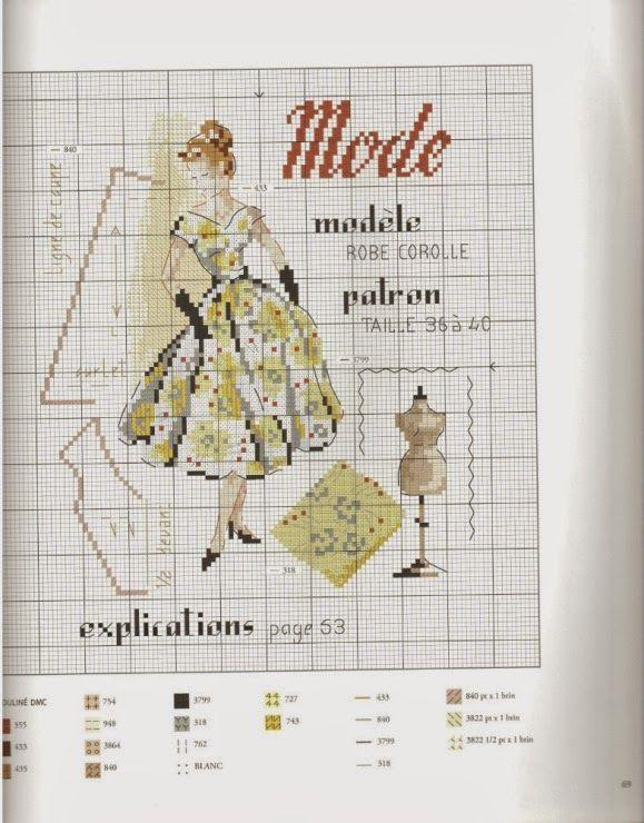 0 point de croix parisienne mode - cross stitch parisian lady fashion