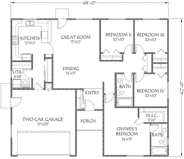1500 sq ft barndominium floor plan joy studio design for Average sq ft of 2 car garage