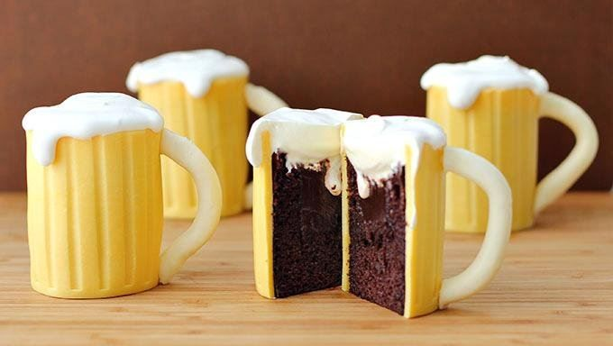 Beer Mug Cupcakes with Baileys Filling are a perfect dessert for parties, St. Patrick's Day, and barbecues!