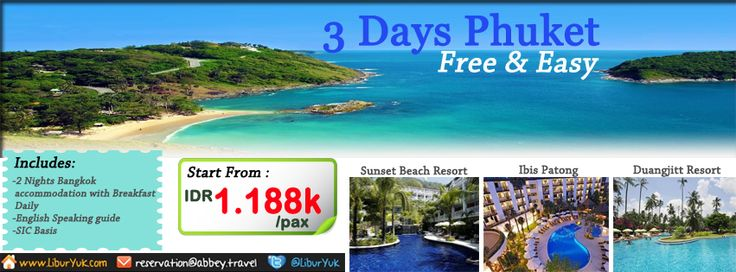 Yuk nikmati keindahan laut dari kepulauan #Phuket.Kini telah kami sediakan paket 3 Hari Phuket Free & easy.Booking paketnya sekarang juga!  Dapatkan Special Paket tersebut dari #LiburYuk.com di http://liburyuk.com/promotional-package/book/94337036/3D2N-PHUKET-FREE-&-EASY #Beach #Jalan2 #Holiday #AbbeyTravel