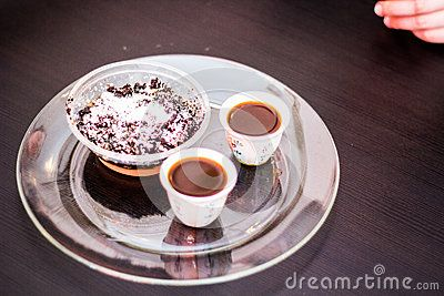 Ethiopian dessert- Strong Ethiopian coffee with the cake