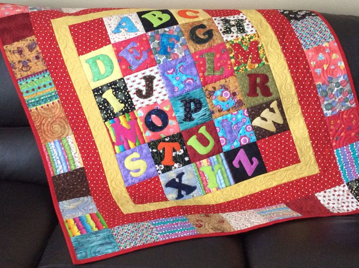 ABC lap quilt, multicoloured kids lap quilt, crib quilt with abc, alphabet play quilt, red quilt, scrappy child's quilt by SimplyQuiltingbyBarb on Etsy