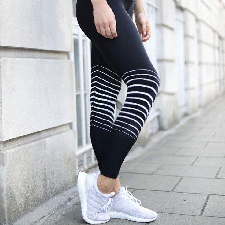 Fashion Women Striped Stretch Pants Sport Yoga Leggings Fitness Running Trousers
