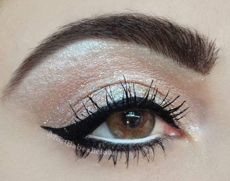 Wearing Urban Decay Cosmetics eyeshadow in Midnight Cowboy Rides Again and Lit Cosmetics glitter in Champagne Wishes!