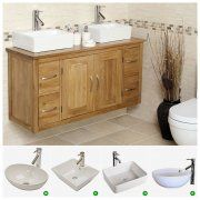 Oak Wall Hung Vanity Unit with Double Sink   Bathroom   Finesse
