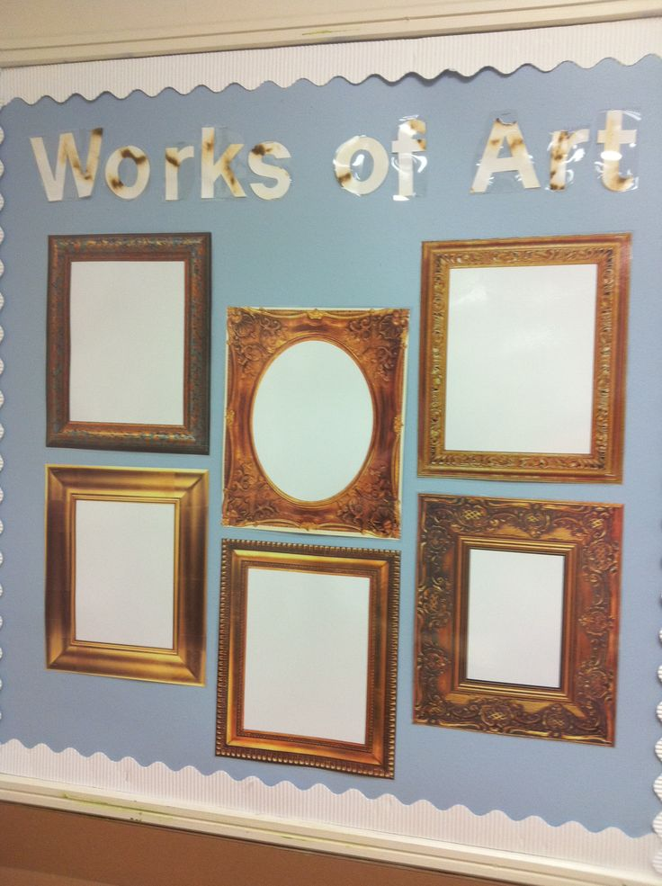 Vintage look in your classroom. Use picture frames to show off work - in english this might be poetry, short stories, static images etc!