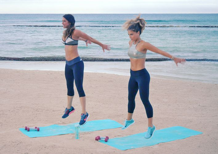 Get your sweat on at the beach with this high-intensity workout from the Tone It Up ladies.