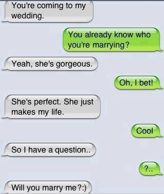 12 Adorable Love Texts Between Couples | YourTango <-- SAY NO HES AN IDIOT you don't get engaged over texts there's usually a ring involved and yes I know this is obviously staged but it still bothers me: