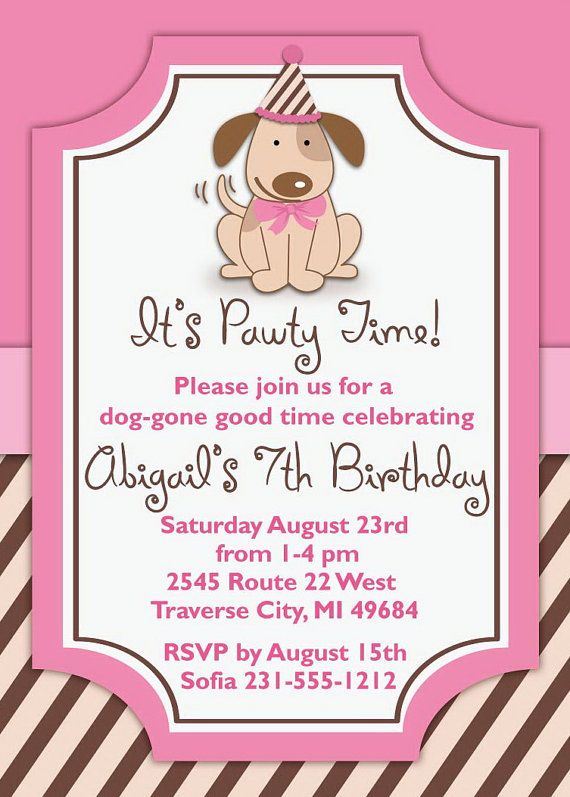 5 X 7 Puppy Birthday Invitation - Printable invite (DIGITAL FILE) Choose your hair color for the girls. 4x 6 also available upon request.    If