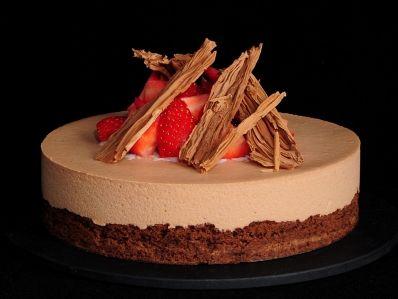 Tarta de brownie y mousse de chocolate