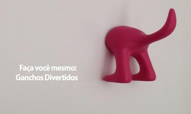 Faça Você Mesmo - Ganchos Divertidos, como esse do rabo de um animal na cor rosa.