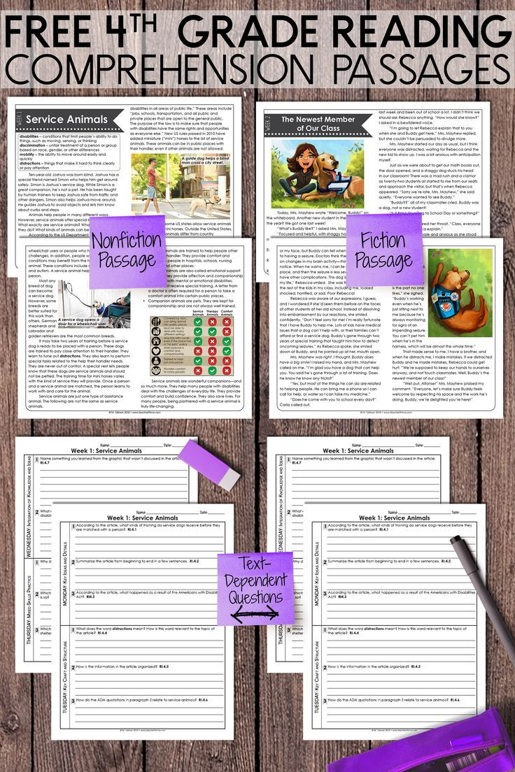 FREE Fourth Grade Weekly Reading Comprehension Nonfiction and Fiction    Reading comprehension [ 1104 x 736 Pixel ]
