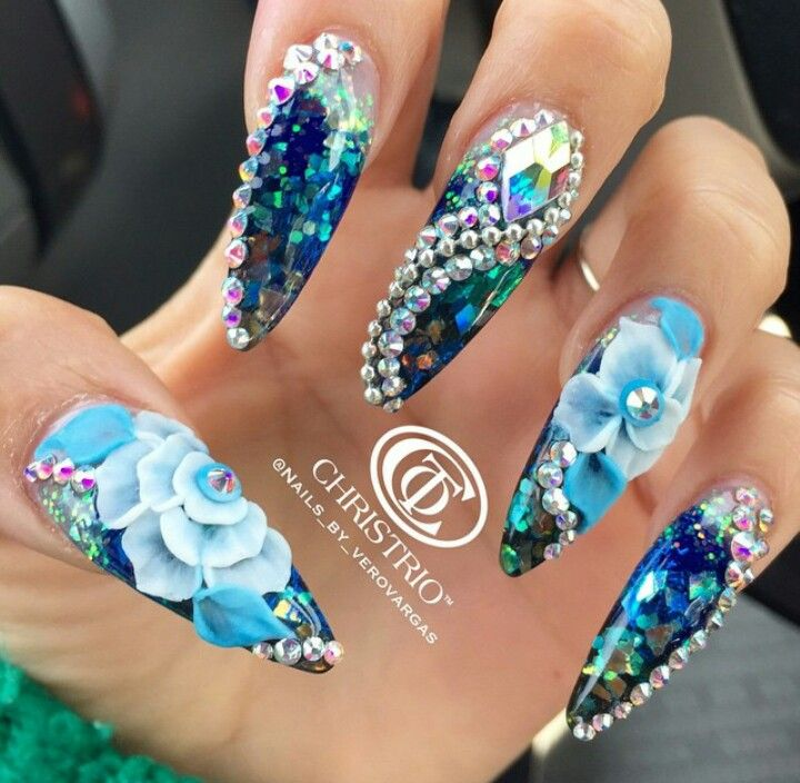 70 Most Beautiful 3d Nail Art Design Ideas For Trendy Girls: Rhinestone Floral Mermaid Blue Nails Nailart Design