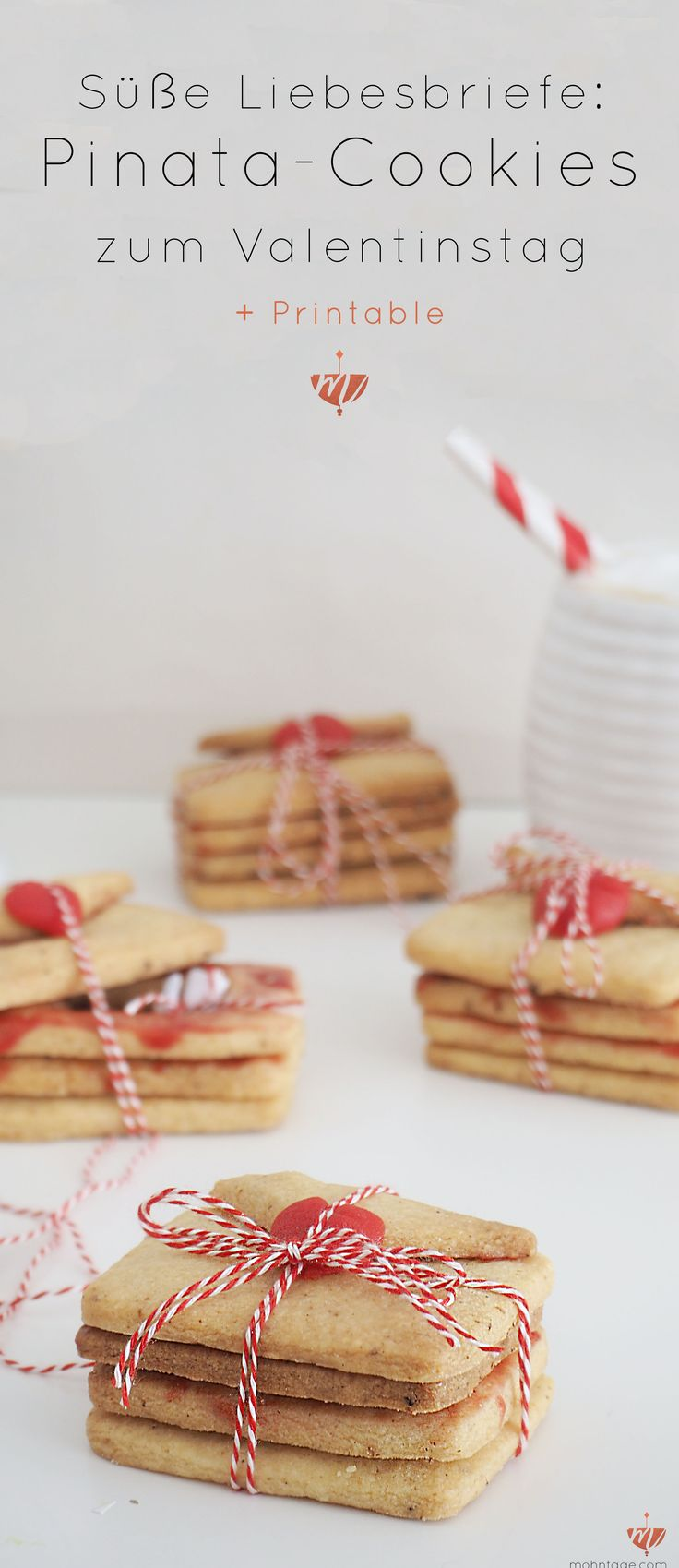 Süße Liebesbriefe zum Valentinstag. In diesen Pinata-Cookies kannst Du eine kleine Nachricht verstecken. Valentinstag, Pinata-Cookies, Cookies, Valentinstag DIY, DIY-Idee, Rosenwasser, Marzipan, weiße Schokolade, Garn und mehr, Liebesbriefe, #bemine, #bemyvalentine